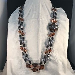 Amber and Black Silvertone Bead Statement Necklace